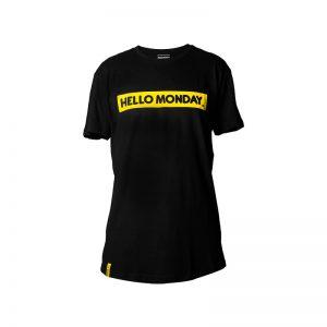 camiseta negra hello monday